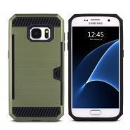 China Brushed metal case for Galaxy S7 with card holder on sale